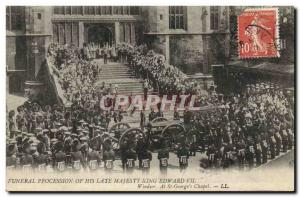 Postcard Old Funerals Funeral procesion de son late majesty King Edward VII W...