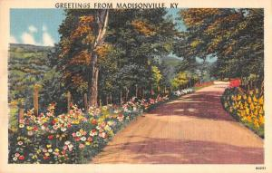 Madisonville Kentucky Greetings From country road linen antique pc Z43820