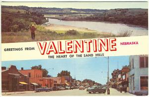 Valentine NE Sand Hills & Street View Coca Cola Sign Old Cars Vintage Postcard