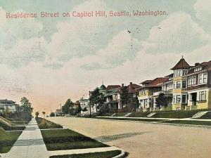Postcard 1909 View of Residence Street on Capitol Hill, Seattle, WA.   U6