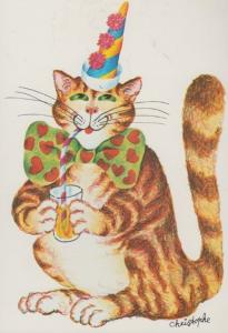Cat Cats Getting Drunk Clown Party Hat Bow Tie French Cute Animal Comic Postcard