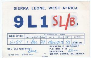 QSL, 9L1SL/B, Freetown, Sierra Leone, 1977