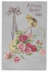 Vintage Easter Postcard Chick Roses Silver 1910 Winsch