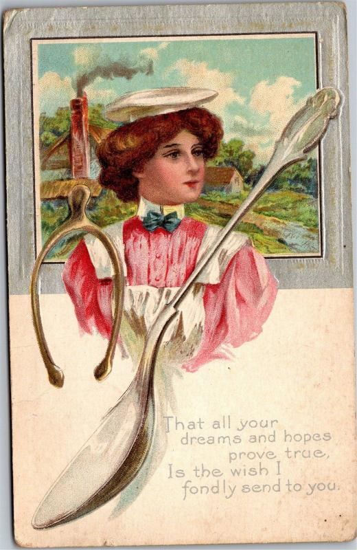 Waitress Server Wishbone Spoon Apron Cap Good Wishes c1911 Vintage Postcard J03