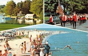 Fair Haven, New York Beach Scene Multi-view ca 1960s Vintage Postcard