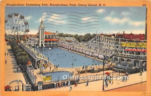 Coney Island, New York, NY, USA Postcard Steeplechase Swimming Pool, Steeplec...