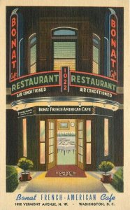 1930s Washington DC Bonat French American Cafe Neon Night Linen Teich Postcard