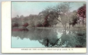 Chautauqua Lake New York~Men Fishing from Shore on Outlet~EH Ketchum Co~1910