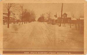 Sherwood Ohio Harrison Street Scene Snow Antique Postcard K45441