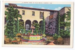 Winter Home Palm Beach Florida FL Vintage E C Kropp Postcard
