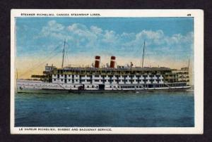 Steamer Vapeur Steamship RICHELIEU QUEBEC Saguenay PC