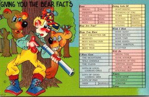 Humour Busy Person's Correspondence Card Giving You The Bear Facts
