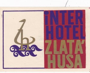 Czechoslovakia Interhotel Zlata' Husa Vintage Luggage Label sk4410