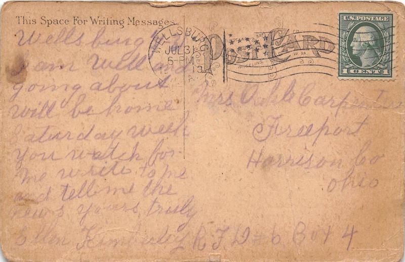 E64/ Wellsburg West Virginia Postcard 1913 Court House Building 8