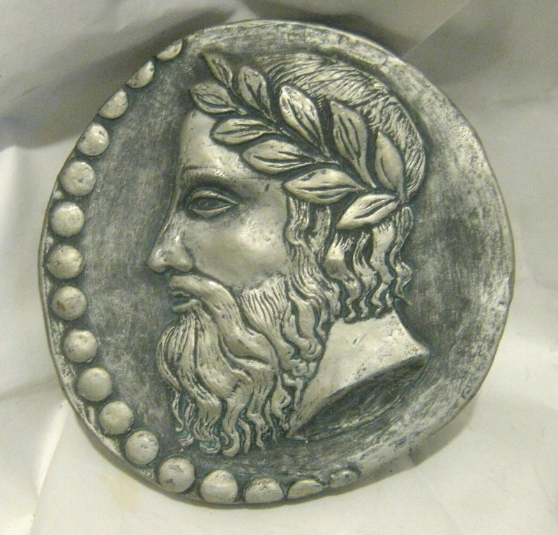 Great circular wall plaque Classical portrait man laurel head by Marcus Designs