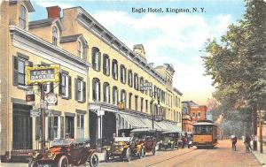 Kingston NY Street View Storefronts Eagle Hotel & Garage Trolley Postcard