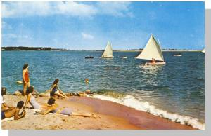 Cape Cod, Mass/MA Postcard,Sailing Off Sandy Shores,Nr Mint!