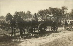Decorated Horse Wagon & Oxen - Athol MA Clapp & Ingalls Real Photo Postcard