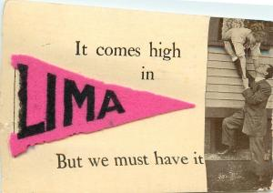 Lima Ohio~Pink Felt Pennant~It Comes High Here, But We Must Have It~Romance 1912