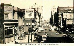 Autos Bus Riverside Avenue Spokane Washington 1930s RPPC Photo Postcard 7887