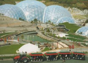 A Day In The Eden Project Cornwall Farm Tractor Leads Guide Tram Train Postcard