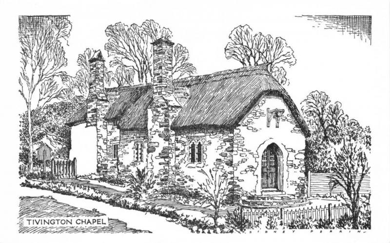 Postcard Art Sketch Drawing TIVINGTON Chapel Selworthy Somerset