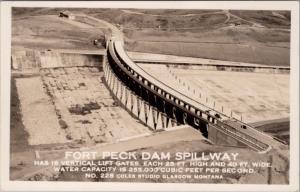 Fort Peck Dam Spillway Montana MT Mont. Unused RPPC Real Photo Postcard E22