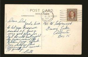 Postmarked 1937 Banff Alberta Lake O'Hara Canadian Rockies Postcard