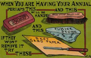 Soap Cleaning Brush Sand Paper Pumice Stone Antique Comic Humour Postcard