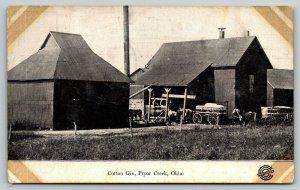 Pryor Creek Oklahoma~Cotton Gin~Barns~Horse Wagons~Workers~1910 B&W Postcard