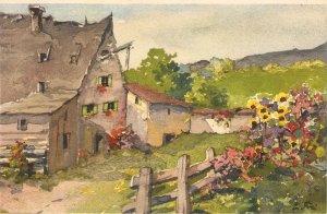 Village landscape Nice Swiss postcard 1940/50s