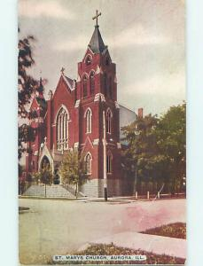Scratched - Divided-Back CHURCH SCENE Aurora Illinois IL p5158