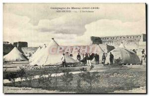 Old Postcard Campaign Morocco 1907 1908 Ber Echid The ambulance
