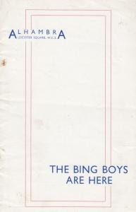 The Bing Boys Are Here Crosby Musical George Robey Theatre Programme