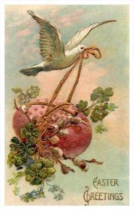 Happy Easter  dove flying fancy Egg