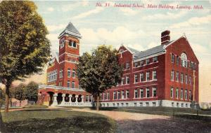 Lansing Michigan~Industrial School~Main Building~Trees in Front~c1910 Postcard