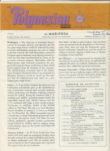 S.S. Mariposa , En Route VICTORIA to S.F. CA, 1971 ; The Polynesian Newsletter 2