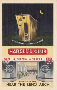 Nevada Reno Harold's Club Interior View & Outhouse Curteich sk2063