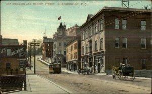Sherbrooke Quebec Market St. Trolley c1910 Postcard