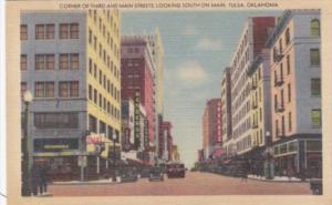 Oklahoma Tulsa Corner Of Third and Main Streets Looking South On Main