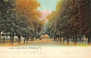 GETTYSBURG PA~CARLISLE ST~TREE LINED DIRT ROAD~ROTOGRAPH 1906 PHOTO POSTCARD