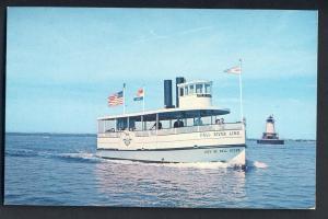 Fall River, Mass/MA Postcard, Fall River Line Steamer, Borden Flats Lighthouse