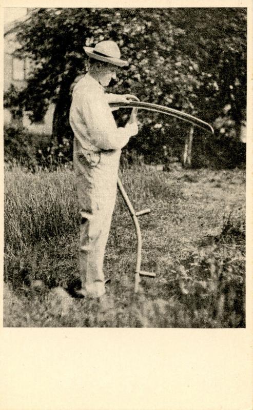 VT - Plymouth. President Calvin Coolidge Sharpening Scythe