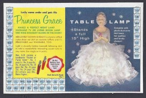 Ca 1958 PUNCH OUT BOARD, OF PRINCESS GRACE TABLE LAMP, MINT COMPLETE