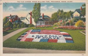 Flag Garden ar Roger Williams Park Providence RI Rhode Island - pm 1945 - Linen