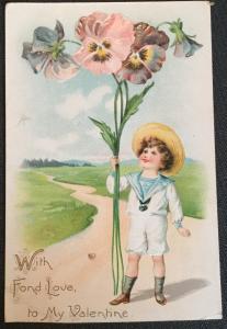 Postcard Unused wWriting Child/Pansies Valentine Tuck's Post Card LB