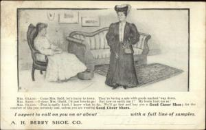 AH Berry Shoe Co Mrs. Glad & Mrs. Sad Casco ME Doane Cancel Postcard