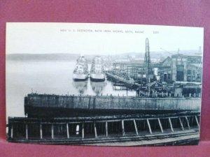 Postcard ME Bath New US Destroyer Bath Iron Works