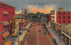 Park Street, Attleboro, Massachusetts, Early Linen Postcard, Unused