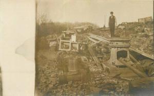 c1910 Fire Damage Disaster Aftermath Man Furnace RPPC Photo Postcard